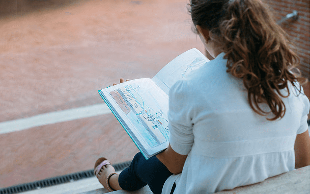 Girl with Friends During Reading Time