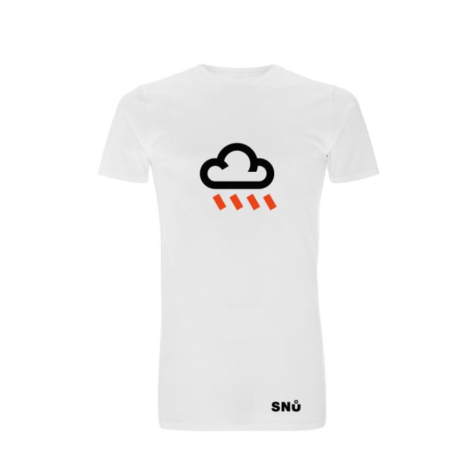 Snu Wear - Bad Rain, white unisex cotton t-shirt, long-line