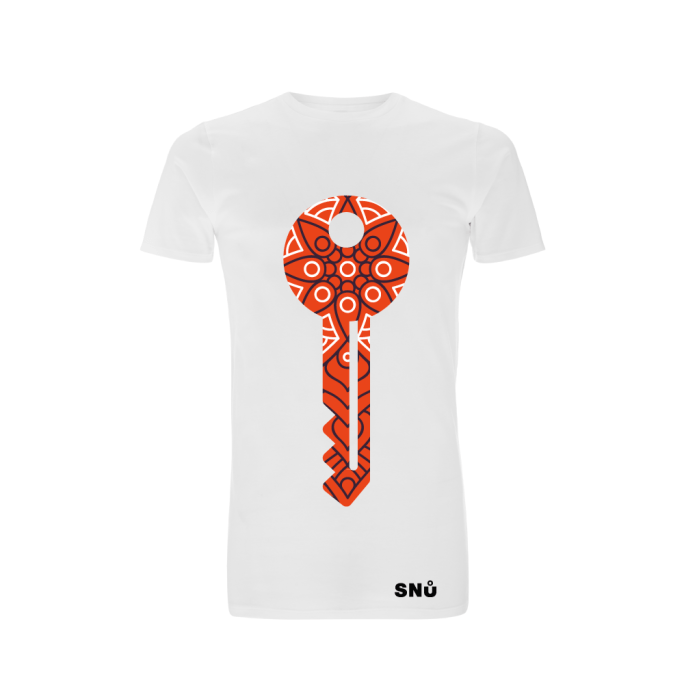 Snu Wear - Dream key. Black and red paisley key unisex long-line t-shirt