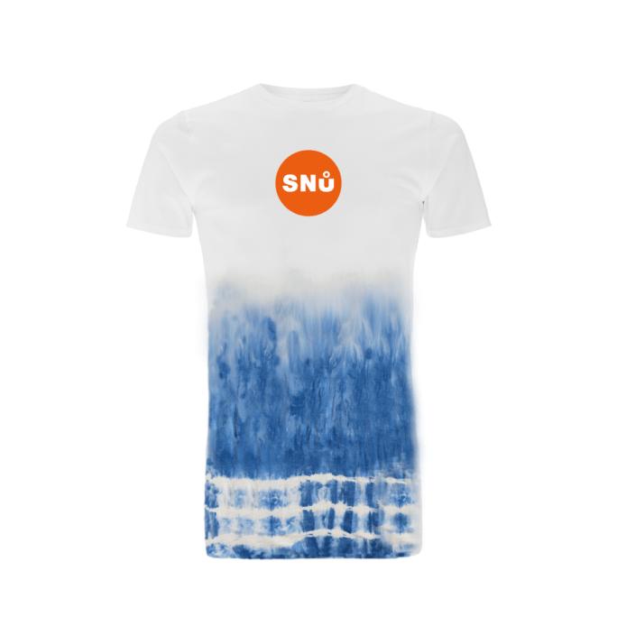 Snu Wear - Blue Tie Dye t-shirt with orange Snu logo