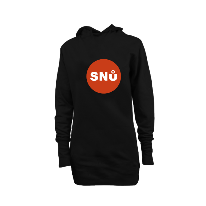Snu Wear - Ninja black long line hoodie with red sun logo