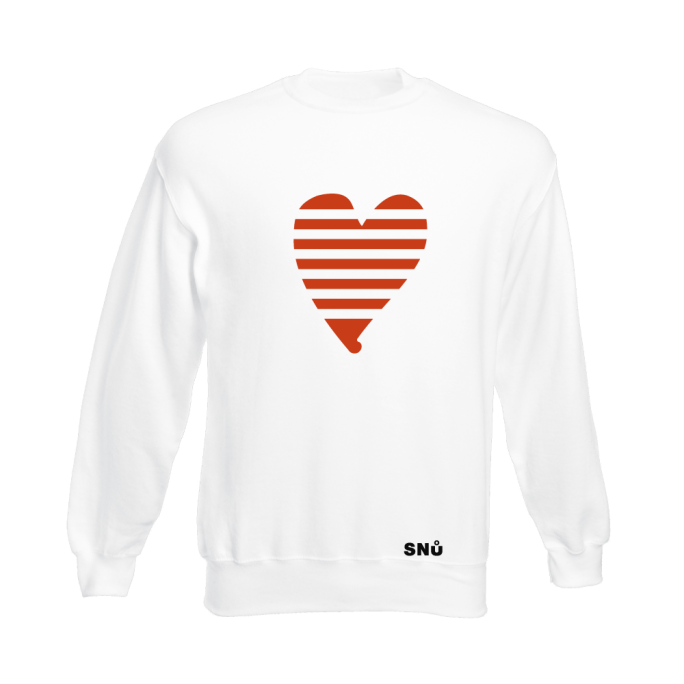 Snu Wear - White valentine heart jumper sweatshirt, broken heart