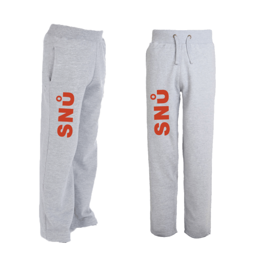 Snu Wear - Grey joggers tracksuit bottoms with red logo
