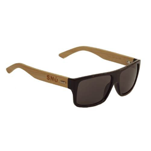 Snu Wear - bamboo sunglasses black lenses