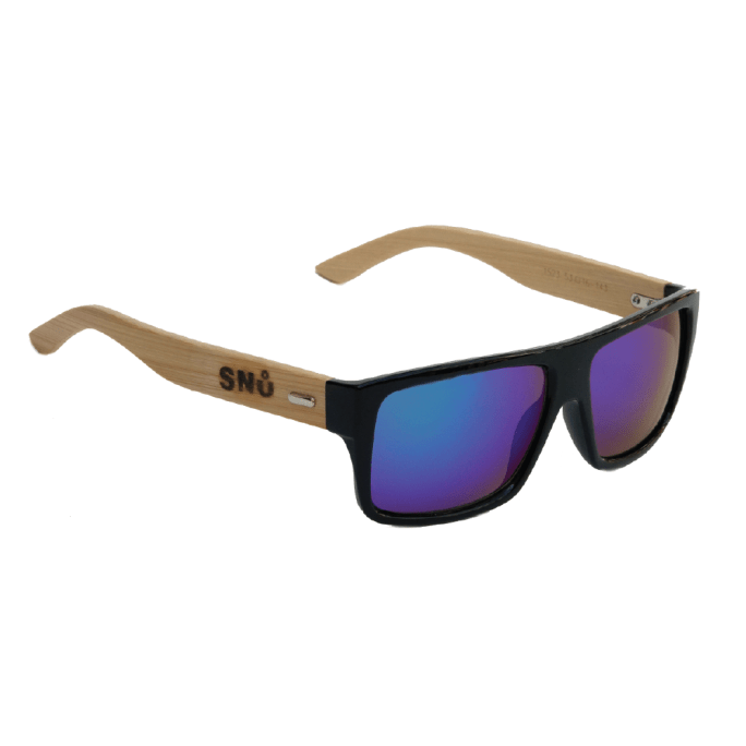 Snu Wear - bamboo sunglasses blue lenses