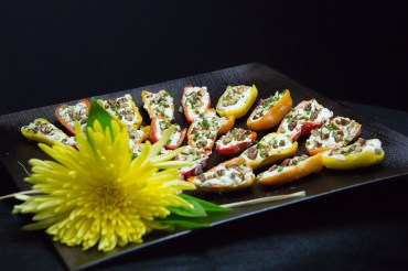 Sweet Mini-Peppers with Goat Cheese, Fresh Herbs and Toasted Pecans