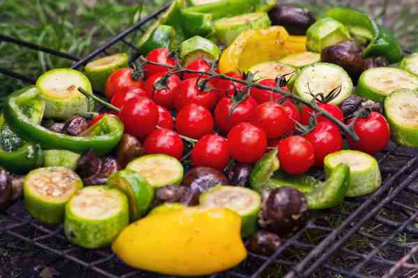 Various vegetables on a grill