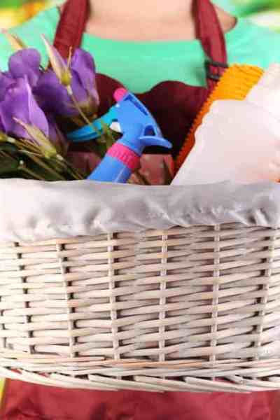 Non-descript woman holding a basket of cleaning products