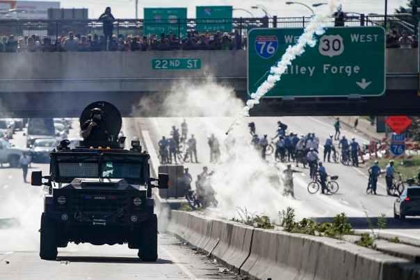 Philadelphia George Floyd Protests Police Tank I676 Tear Gas 001.jpg | The Daily Pennsylvanian