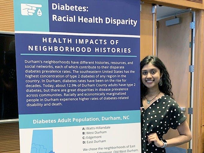 "Meghana Sai Iragavarapu (above) is one of the undergraduate team members who worked on ""Documenting Durham's Health History."""