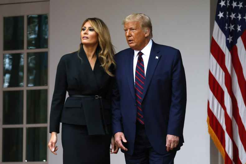 President Donald Trump departs with first lady Melania Trump after introducing Judge Amy Coney Barrett as his Supreme Court Associate Justice nominee Sept. 26 in the Rose Garden of the White House in Washington, D.C. President Trump and Melania Trump tested positive for the coronavirus late Thursday night after being exposed to a staffer who contracted the virus.