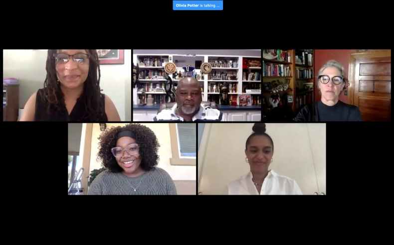 Panelists and student moderators speak July 11 during an IU Maurer School of Law online event over Zoom. The event was also a fundraiser and raised $3,371.03 for Black Lives Matter B-Town, Black Visions Collective and the Bail Project, according to Olivia Potter, president of the International Law Society at IU.