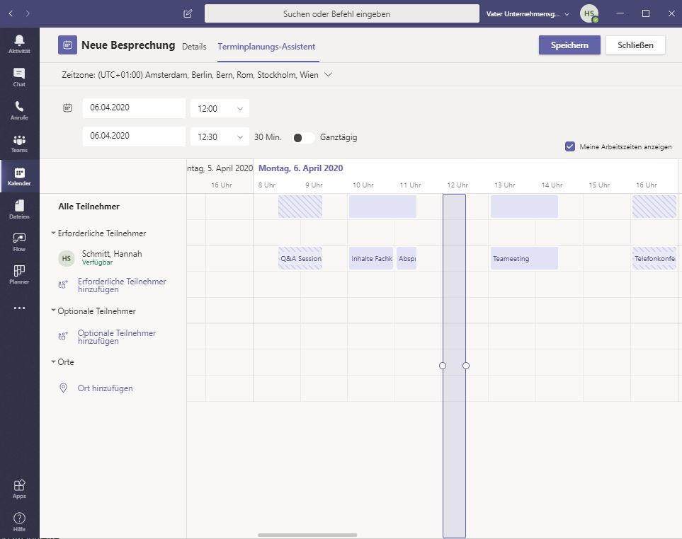 Microsoft Teams Planungsassistent