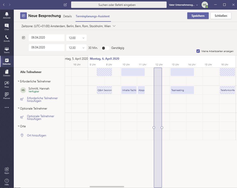 Microsoft Teams Planungsassistent