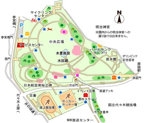 代々木公園お花見 園内マップ