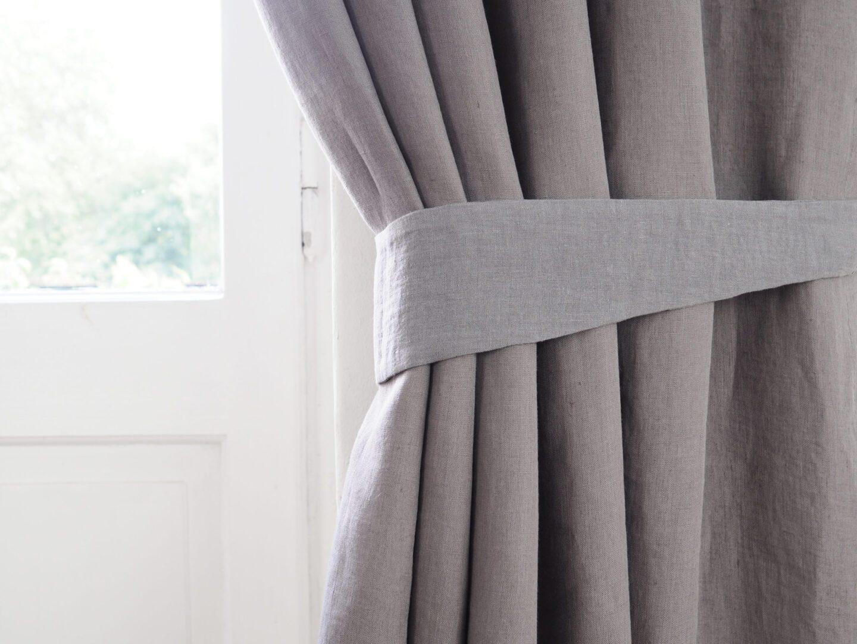 linen curtain tie back true gray
