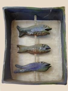 "2. Mary Ann Bowman Three Fish Glazed stoneware  12"" x 8"" x 3.5""  Retail value $275"
