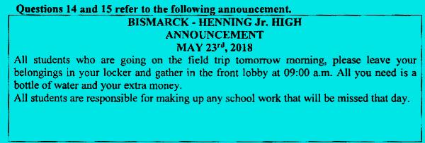 Soal UN bahasa Inggris SMP MTs 2019 nomor 14 dan 15