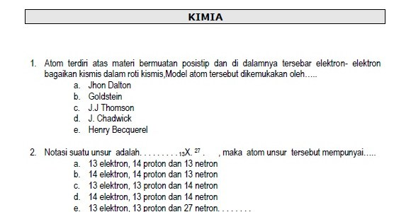 Soal TryOut Ujian Nasional Kimia SMA 2008