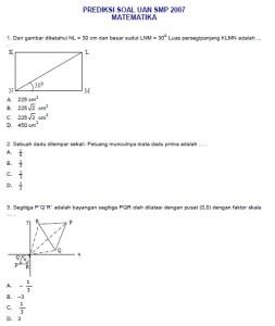 prediksi ujian nasional smp matematika 2007
