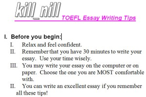 toefl essay writing tips