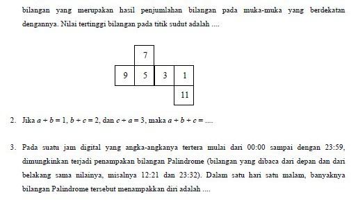 Soal Olimpiade Matematika SMP