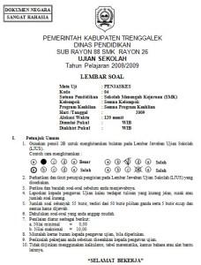 Soal Jawab Ujian Penjaskes SMK