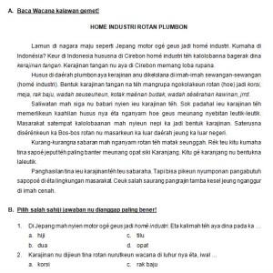 Contoh Soal Bahasa Sunda