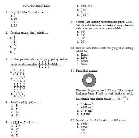 Contoh Soal Olimpiade Matematika Sd Tahun 2010 Bank Soal Ujian Sekolah Pinter