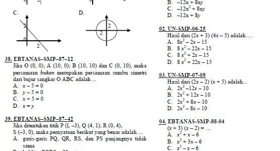 Rangkuman Soal Matematika SMP