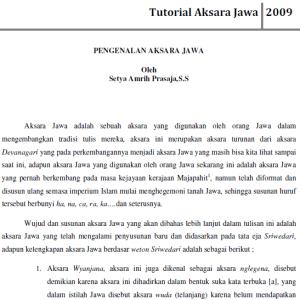 Tutorial Aksara Jawa