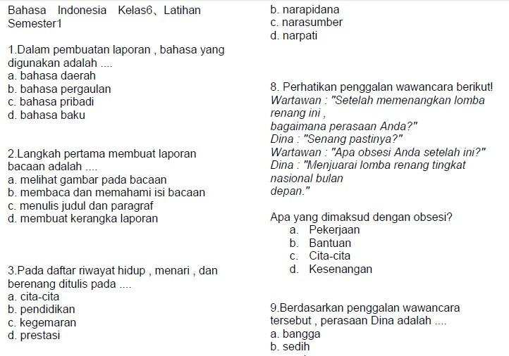 Contoh Soal Latihan Bahasa Indonesia Sd Kelas 6 Semester Ganjil Bank Soal Ujian