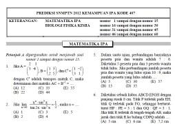 Soal Prediksi SNMPTN 2012 Kemampuan IPA