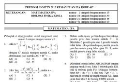 Soal Prediksi SNMPTN 2012 – Kemampuan IPA