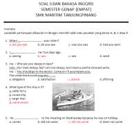 Soal Jawab Bahasa Inggris Kelas 2 SMK