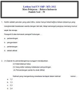 Latihan Ujian Nasional SMP 2012 Bahasa Indonesia