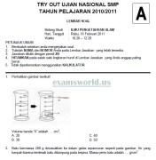 Soal Tryout Ujian Nasional SMP 2011