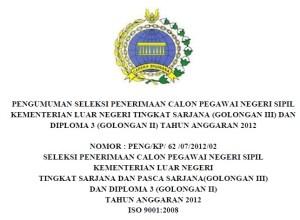 Info Lowongan CPNS Kemenlu 2012