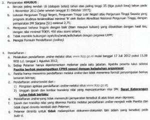 Syaran penerimaan CPNS LKPP 2012