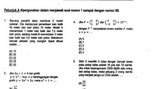 Soal SBMPTN 2014 + Kunci Jawaban