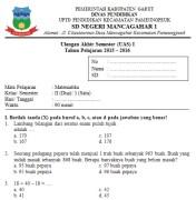 Soal UAS SD Kelas 2 Semester 2 Matematika