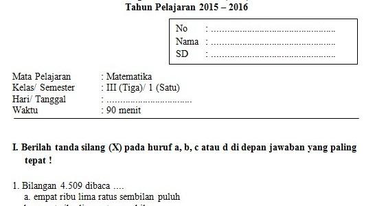 Soal UAS SD Kelas 3 Semester 1