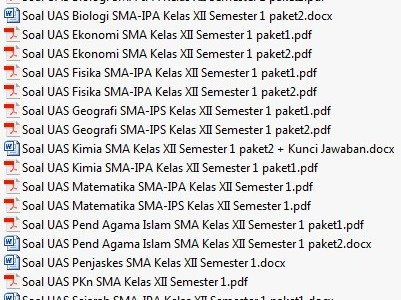 Paket Soal UAS SMA/MA Kelas 12 Semester 1 Lengkap