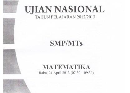 Naskah Soal UN SMP 2013 Paket 1 Lengkap