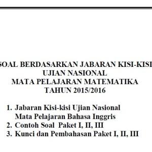 Soal Latihan UN SMP 2016 Matematika Paket II, II dan III