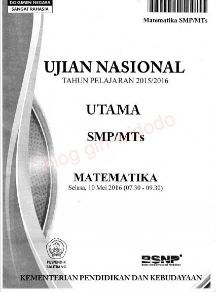 Naskah Soal UN SMP 2016 Lengkap