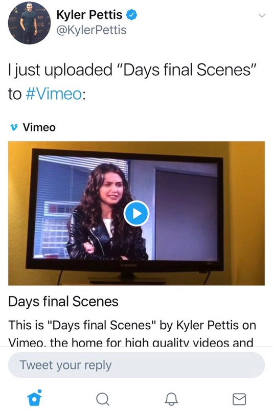 Kyler Pettis Announces Days of Our Live Departures with his final scenes on Vimeo