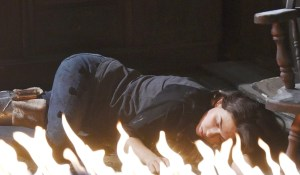 ciara passes out in the cabin fire
