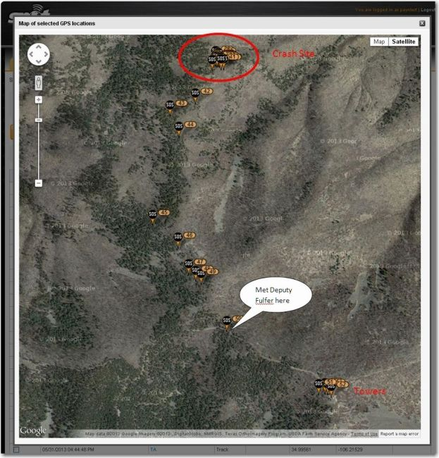 Figure 2: The crash site and the hike out
