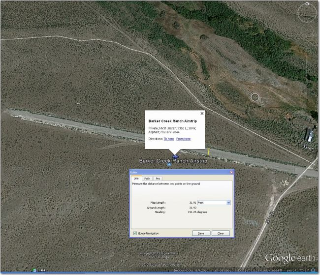 Way too narrow for 15m or 18m, but might be do-able if sagebrush isn't too high.  Hadley (10 mi SSW) is a much better bet